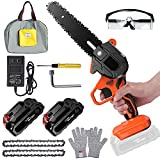 Mini Chainsaw Cordless 6 inch with 21V 2 Batteries, Flanagan Electric Handheld Chainsaw Battery Powered with 2 Replacement Chains, Portable Small Chainsaw for Branch Wood Cutting Garden Tree