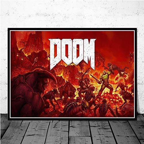 MXLF Leinwand-Malerei Poster Klassische Halo Video-Spiele The Ultimate Doom Wall Art Leinwand-Malerei Bilder for Wohnzimmer Wohnkultur Gemälde (Color : Rot, Size (Inch) : 60X90CM)