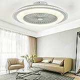 Ventilador de techo LED moderno Nordic con mando a distancia de 60 W, lámpara de techo moderna LED con iluminación ultra silenciosa, para dormitorio o salón (60 cm de diámetro), color blanco