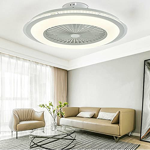 Ventilador de techo LED de 23 pulgadas, moderno, invisible, lámpara de techo, regulable, silenciosa, con mando a distancia, 60 W, para comedor, dormitorio, salón