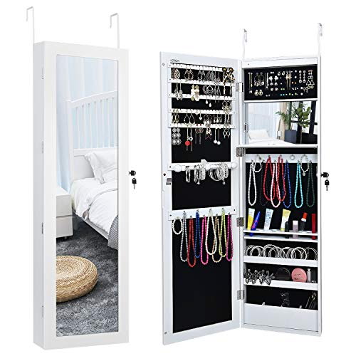 LED Jewelry Cabinet Armoire with Mirror, Over The Door Jewelry Box or Wall Mounted Jewelry Organizer for Women to Store Jewelry