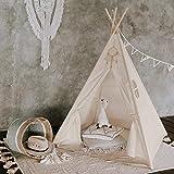 Tipi Dreamin Spielzelt für Kinder mit Matte, Tragetasche - Perfekt für Kinderzimmer, Drinnen und Draußen -Indianer Tipi Zelt aus Baumwolle - Ecru