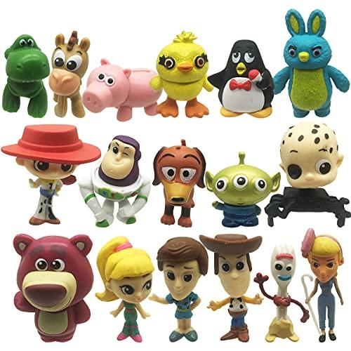 17 Pack Toy Story de Aventuras de Woody y Perdigón, LIDBHR Juguetes niños Suministros Divertidos para Fiestas para niños pequeños, Juego de decoración para Tartas para cumpleaños