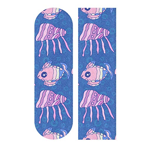 Hoja de cinta de agarre para monopatín, 33 x 9 pulgadas – Shell Coral Fish Underwater World Lija para Rollerboard Longboard Griptape Bubble Free Skate Tape