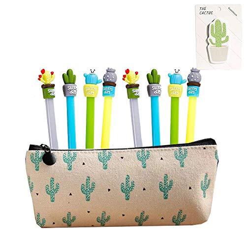 Cute Cactus Ballpoint Pen,Cactus Premium Black Gel Ink Office Writing Pens set of 8 with Cactus Canvas Pen Case Pencil Bag for School Office Supply Gift Stationery(Cactus Pen set)