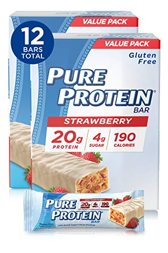 Pure Protein Bars, High Protein, Nutritious Snacks to Support Energy, Low Sugar, Gluten Free, Strawberry Greek Yogurt, 6 Bars Each 1.76 Oz, Pack of 2