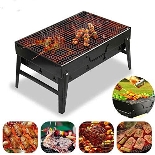 BBQ Barbecue Grill Draagbaar Lichtgewicht Roestvrijstalen opvouwbare barbecue-houtskoolgrill met BBQ Net, BBQ Clip en Olieborstel voor Outdoor Camping Festival Garden Picnic Party