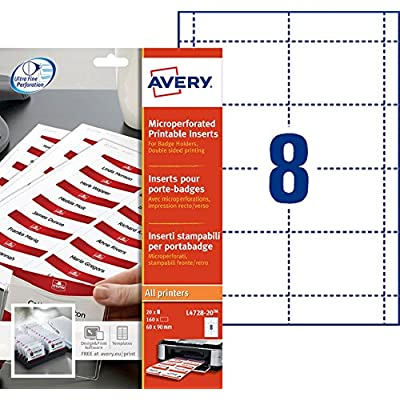 Avery L4728-20 badge et porte badges