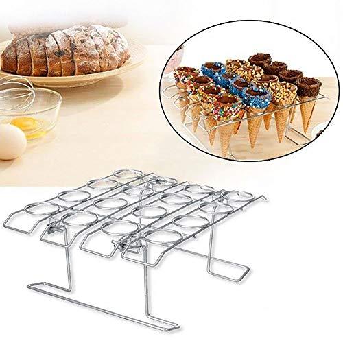 Eiswaffelhalter mit 16 Löchern, zum Abkühlen, für DIY-Cupcake-Kegel, Metall-Backregal, Tisch-Kuchenständer