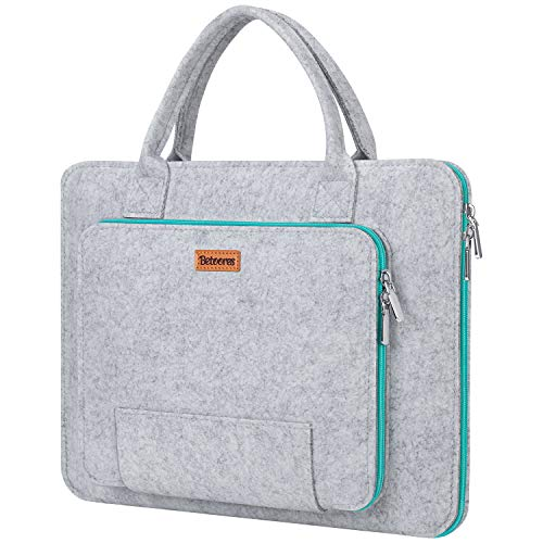 17.3 Inch Laptop Bag, Betoores Felt Laptop Sleeve with Handle Notebook Bag Computer Carrying Case Briefcase for 17' Acer/Asus/Dell/Lenovo/HP, Grey+Light Blue