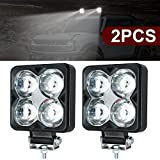2 pcs 60W Faro Trabajo LED,6000LM Focos de Coche Faros Led Tractor Off-road Foco de Trabajo LED para Moto ATV SUV Tractor Camión Barco