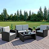 Rattan Outdoor Garden Patio/Conservatory 4 Seater Sofa and Armchair set with Cushions and Coffee Table Grey Brown Black (Black with Light Cushions, Algarve 2+1+1) INCLUDES OUTDOOR WATERPROOF PROTECTIVE COVER