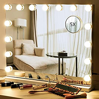 Ohuhu Vanity Makeup Mirror with 15 pcs Dimmable Led Bulbs - 3 Color Lighting Modes for Dressing Room, Bathroom & Tabletop Mirror or Wall Mounted