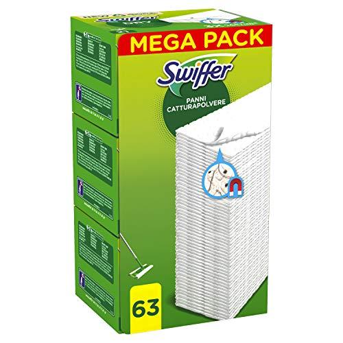 Swiffer Dry Panni Cattura Polvere, 63 Panni, Cattura e Intrappola Polvere e Sporco, Ottimo per I peli di Animale, per Tutti I Tipi di Pavimenti, Maxi Formato