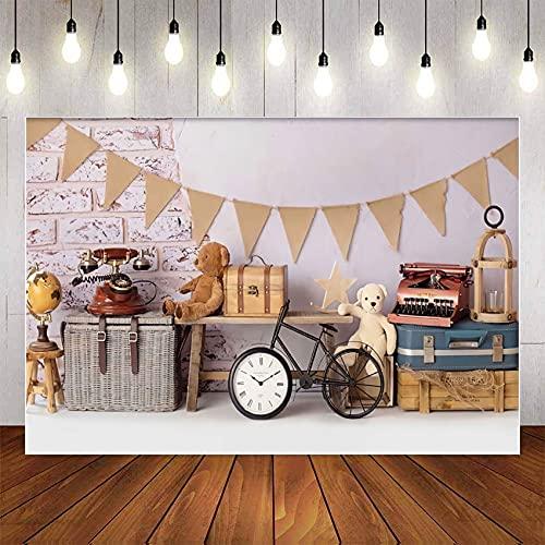 Fondo de fotografía La Aventura Comienza Vintage Maletas Viajes Fiesta de cumpleaños Telón de Fondo Estudio fotográfico Prop A1 10x7ft / 3x2.2m