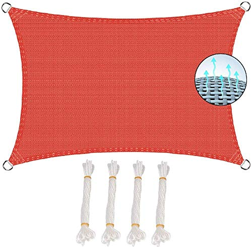 SYCEZHIJIA Sombra de Vela Cuadrada Protección UV y HDPE Tejidos Transpirables Cubierta de Lona Protección Anti-UV 95% para Patio Exterior y jardín - Naranja 3x6m-Naranja_Los 3x5m 0304