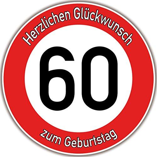 Tortenaufleger Fototorte Tortenbild Warnschild 60. Geburtstag rund 14 cm GB09 (Zuckerpapier)