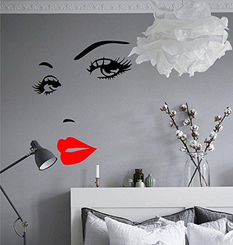 wDesigns Wandtattoo Augen Kuss Mund Gesicht Schlafzimmer Wandsticker Aufkleber Sticker