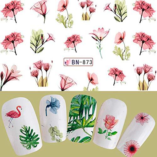 oce180anylv Flower Leaf Flamingo Nail Art DIY adhesivo decorativo para agua Transfer Manicura Pegatinas