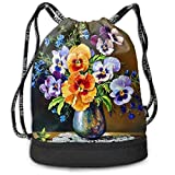 OPLKJ Flower Diamond Painting Bolso de mochila con cordón impreso, Sport Gym Sackpack Bundle Pocket Backpack Travel Storage Bag