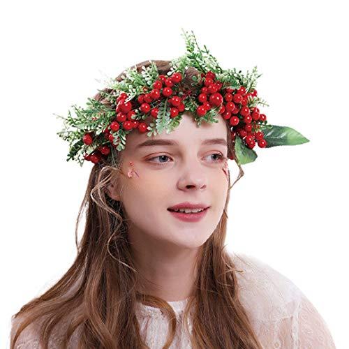Christmas Girls Flower Crown Wreath Fashion Beautiful Artificial Berry Garland Wedding Bridal Women Flower Headband
