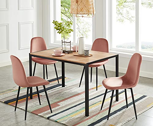 BAÏTA Set di 4 sedie LENA in velluto rosa, 44x52x86cm