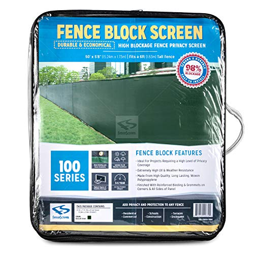 FenceScreen 5ft-8in x 50ft (for a 6-ft Tall Fence) Green Fence Privacy Screen - Extreme 98% Blockage Windscreen Fence Cover