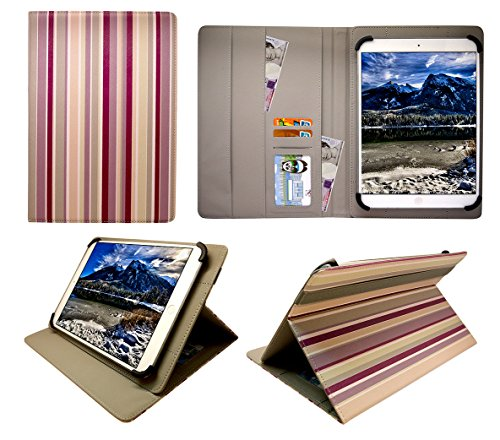 Sweet Tech Teclast X16 Plus 10.6 Inch Tablet Vertical Stripes Universal Wallet Case Cover Folio (10-11 inch)