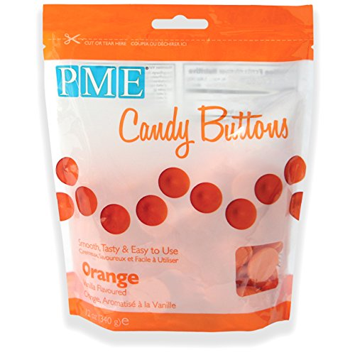 PME Candy Buttons - Orange . 340 grams / 12 Oz. Like Wilton Melts. Perfect for Cake Pops and other Candy & Chocolate Making by The Baker Shop