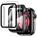 Qianyou 2 Packs Funda con Cristal Templado para Apple Watch 38mm Serie 3/2/1, PC Funda y Vidrio Protector de Pantalla Integrados, Slim Cover de Bumper Compatible con iWatch 38mm,Negro+Claro