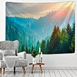Tapestry Forest Under Sun Tapestry Forest Wall Hanging Sandy Beach Picnic Rug Camping Tent Sleeping Pad Home Decor Landscape Wall Cloth Room Decor 150X100CM