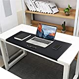 BUBM Non-Slip Soft PU Leather Surface Office Desk Mouse Mat Pad with Full Grip Fixation Lip Table Blotter Protector 35.4'x 15.8' Leather Mat Edge-LockedBlack