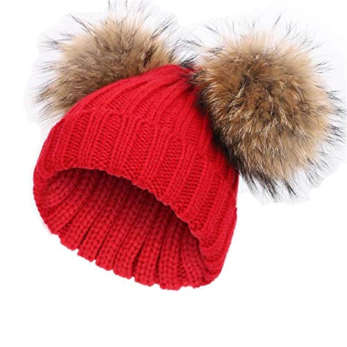 feifanshop Damen Wintermützen Strickmütze Echtfell Waschbär Fell Pelz Bommel Mütze Bommelmütze Beanie Warme Cap Rot