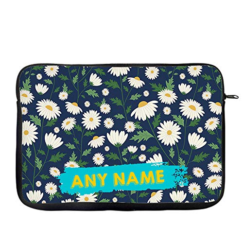 Personalised Daisy Flower pattern inspired ANY NAME Floral Birthday present gift idea Laptop Sleeve, Laptop Organiser, Laptop Case. (14')