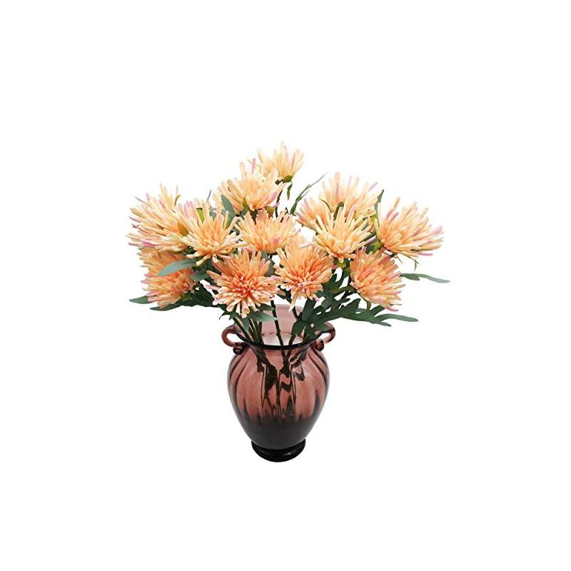 silk flower arrangements cn-knight artificial flowers 10pcs 19 inch silk mums faux chrysanthemum gel-coated chrysanths for wedding bridal bouquet home decor housewarming gift centerpieces baby shower reception