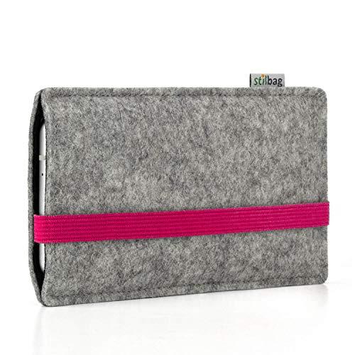 stilbag Handyhülle Leon für Apple iPhone 11 | Farbe: hellgrau/pink | Smartphone-Tasche aus Filz | Handy Schutzhülle | Handytasche Made in Germany