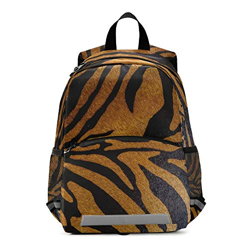 Mochila para niños con estampado de tigre animal con correa en el pecho, mochila escolar para preescolar, para niños y niñas