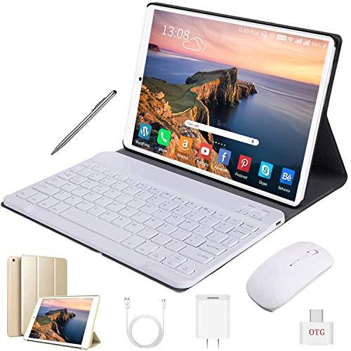 Tablet 10 Inch Android 9.0 Pie 32GB ROM/128GB 3GB RAM Tablet PC, 8500mAh Battery Quad Cord Phablet, Dual Camera Dual SIM Card Slots Unlocked, Bluetooth, GPS, WiFi,Netflix, Disney+