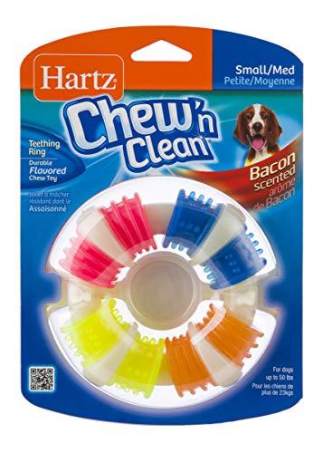 Hartz Chew 'n Clean Bacon Scented Dental Teething Ring Dog Chew Toy - Small/Medium