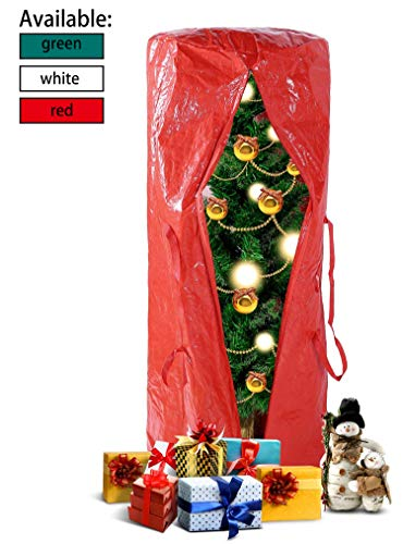 Ohuhu Christmas Tree Storage Bag for 5 FT Tree or 9 Ft Disassembled Christmas Tree, 5.2' x 2.1' x 2.1' Multipurpose Storage Bag with Durable Reinforced Handles & Dual Zipper, Red