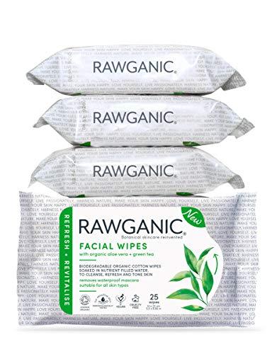 RAWGANIC Lingettes Démaquillantes Bio   Visage, Yeux, Lèvres   Coton Bio Biodégradable   Aloe Vera Thé Vert   Sans parfum (Boîte de 4 paquets (100 lingettes))