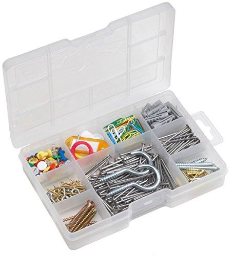 Metafranc Haushalts-Sortiment 183-teilig + 200 g - Schrauben, Haken, Pinnwandnadeln & Co. - Vorsortiert in praktischer Kunststoffbox - Universell einsetzbar / Sortimentskasten / Sortimentsbox / 947530