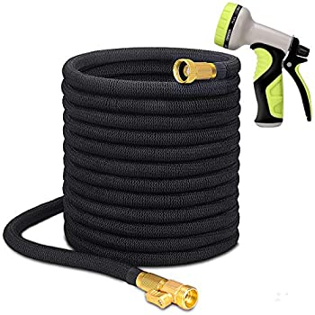 Higen 100ft Garden Hose Set Extra Strength Fabric Triple Layer Latex Core 3/4 Solid Brass Fittings 9 Function Spray Nozzle with Storage Bag Premium No-Kink Flexible Water Hose