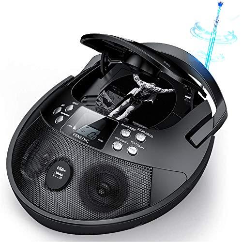 VENLOIC CD Player Boombox Portable, Portable CD Player Boombox with USB, Radios CD Players for Home Small