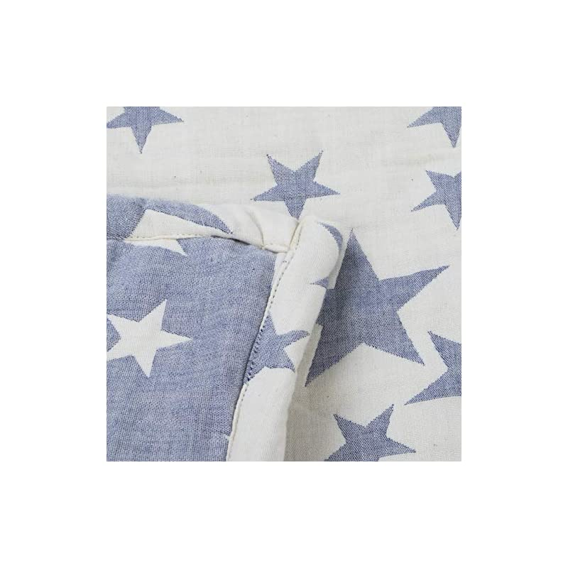 """crib bedding and baby bedding ntbay 3 layer toddler blanket, muslin cotton jacquard bed blankets, lightweight thermal baby blanket, super soft and warm crib blanket for all seasons, decoration gift, 30""""x 40"""", blue"""