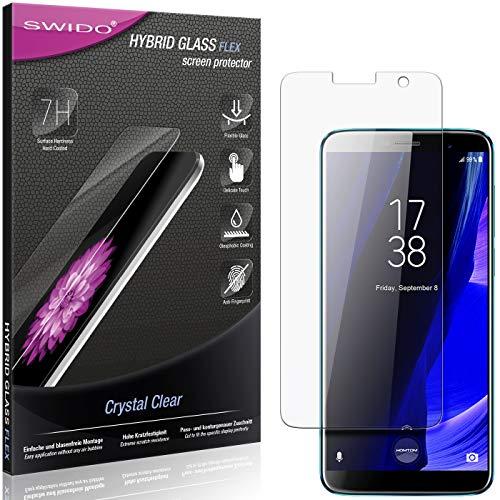 SWIDO Panzerglas Schutzfolie kompatibel mit Homtom S7 Bildschirmschutz-Folie & Glas = biegsames HYBRIDGLAS, splitterfrei, Anti-Fingerprint KLAR - HD-Clear