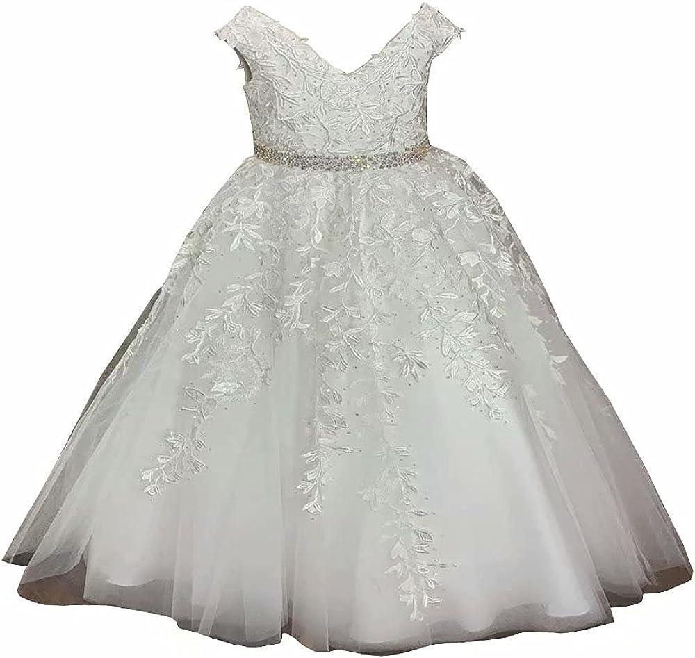 Mollybridal Elegant Princess Tulle Lace V Neck Flower Girl Dresses for Wedding Party Toddler Infant Sequins Corset Back 2022