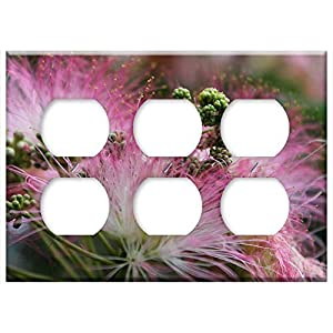 Triple Duplex Outlet Wall Plate Cover – Flower Pink Blossom Mimosa Silk Summer Nature
