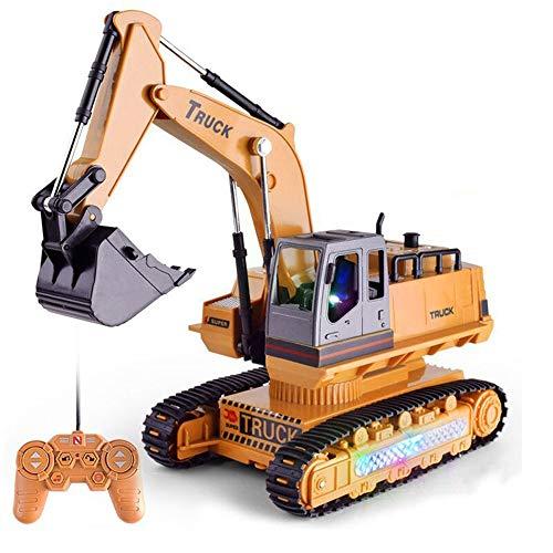 DBXMFZW RC Truck, Control Remoto de 8 Canales Ingeniería de Camiones Simulación RC Excavador Juguete Vehículo de construcción con Luces RC Coche con Brazos hidráulicos Regalos para niños Mayores de 3