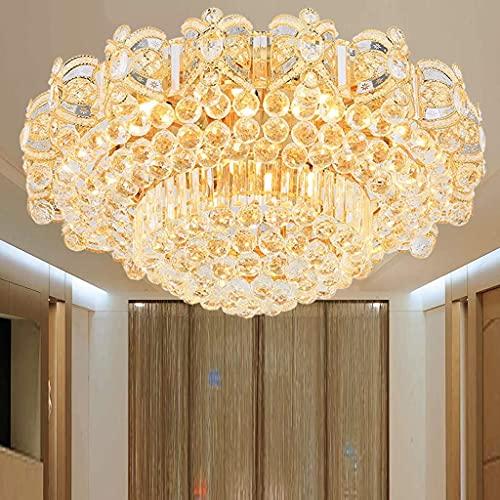 Europeo de lujo de oro redondo dormitorio cristal lámpara de techo-80CM tres-